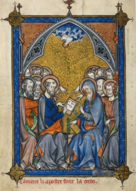 A medieval illumination of the Apostles Creed
